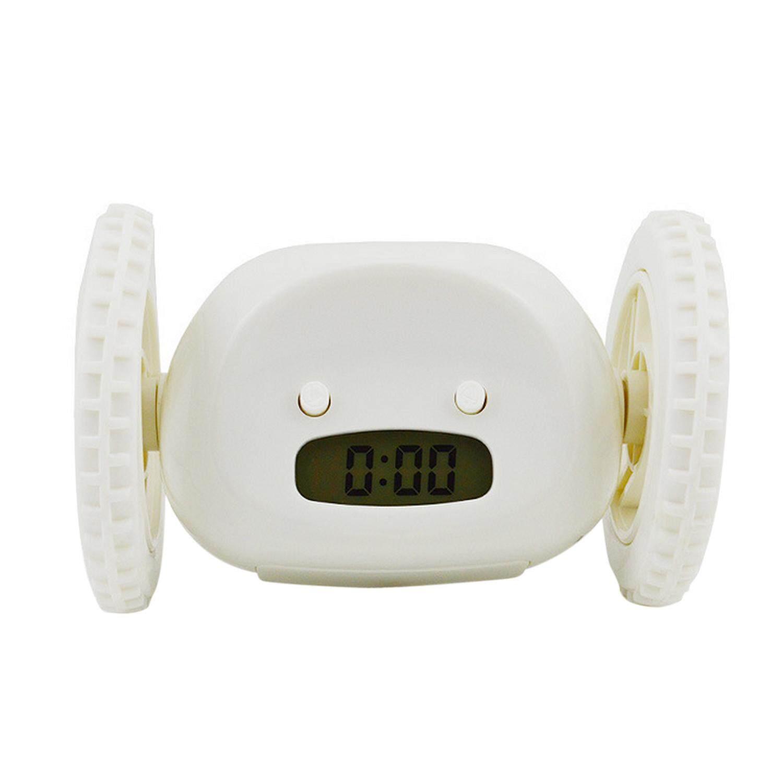 Digital Alarm Clock Runaway Wheels Runing Moving Clocky Hide And Seek Clock Make You Awake Soon