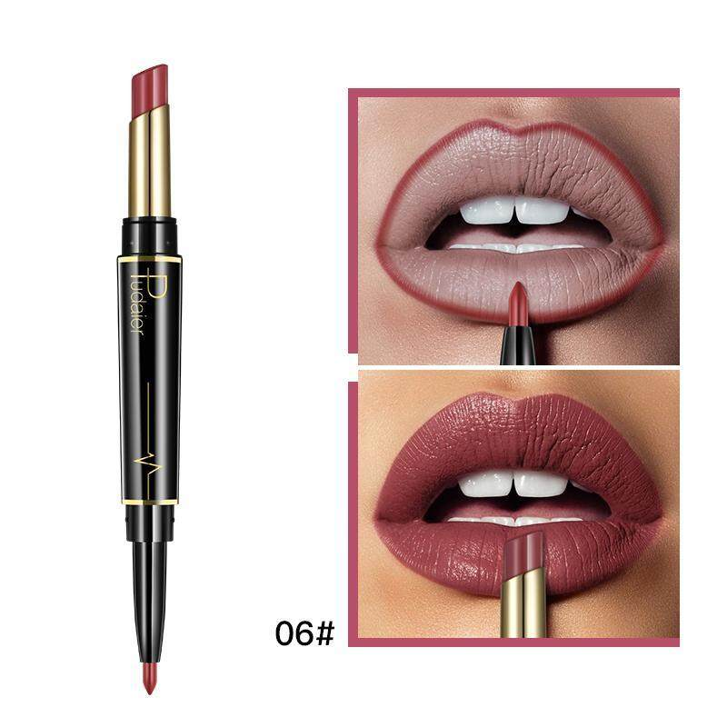 DXY Pudaier 2 in 1 lip liner lipstick lip makeup beauty makeup waterproof double nude makeup cosmetics (06#) - intl Philippines