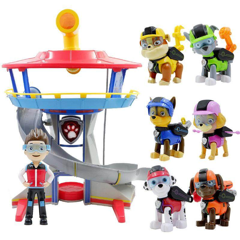 PAW Patrol Rescue team Watchtower Base headquarters with Six Deformation  dogs and Captain Suit Dog Patrol 202cdfbf4