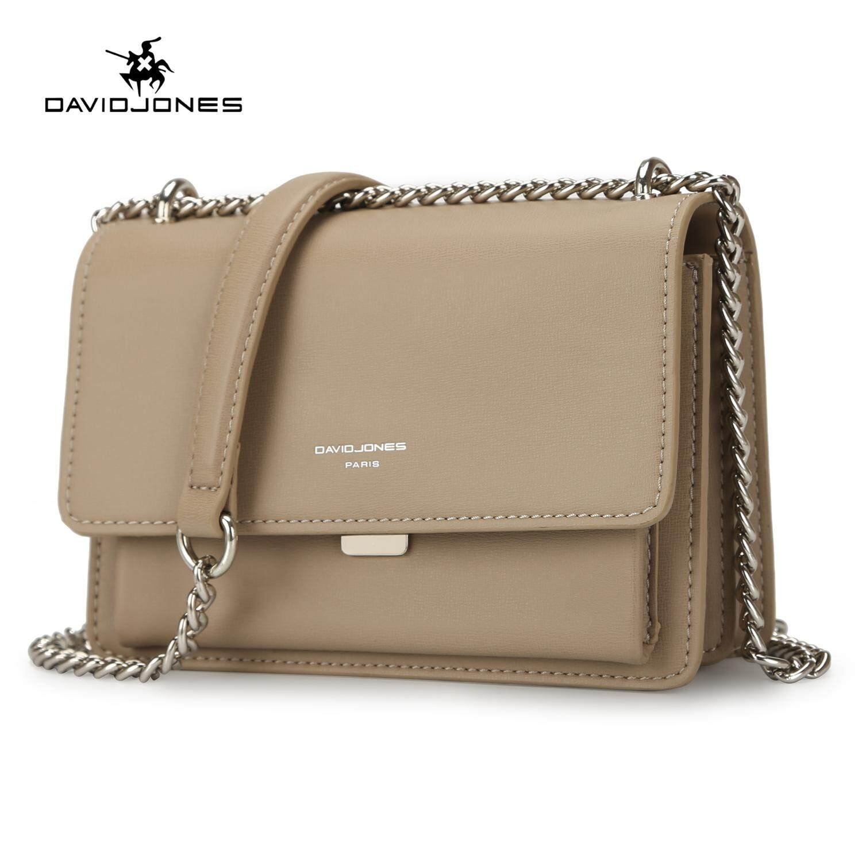 DAVIDJONES women crossbody bag pu leather female handbag small spring chain lady shoulder bag girl summer