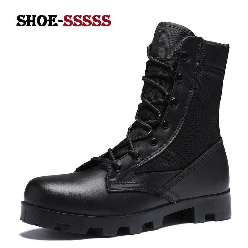 Plus Size Men High Top Combat Boots Fashion Outdoor Waterproof  Anti-collision Toe Shoes Suede cd6e272a66