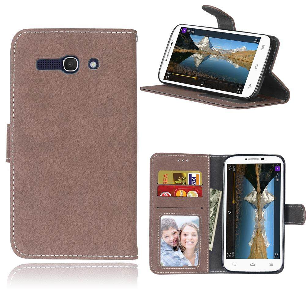 alcatel Pop C9 case,Bujing Brown Retro Matte Pu Leather and TPU Wallet,Card slot,Stand,Photo Frame Case for alcatel Pop C9(5.5) - intl