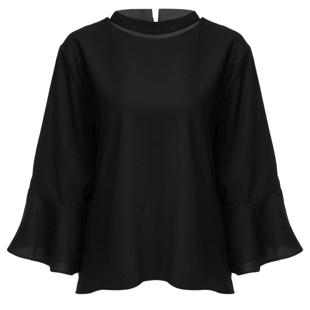 CASUAL HALTER FLARE SLEEVE PLUS SIZE LOOSE SHIRT FOR WOMEN (BLACK, SIZE XL/2XL/3XL/4XL/5XL)