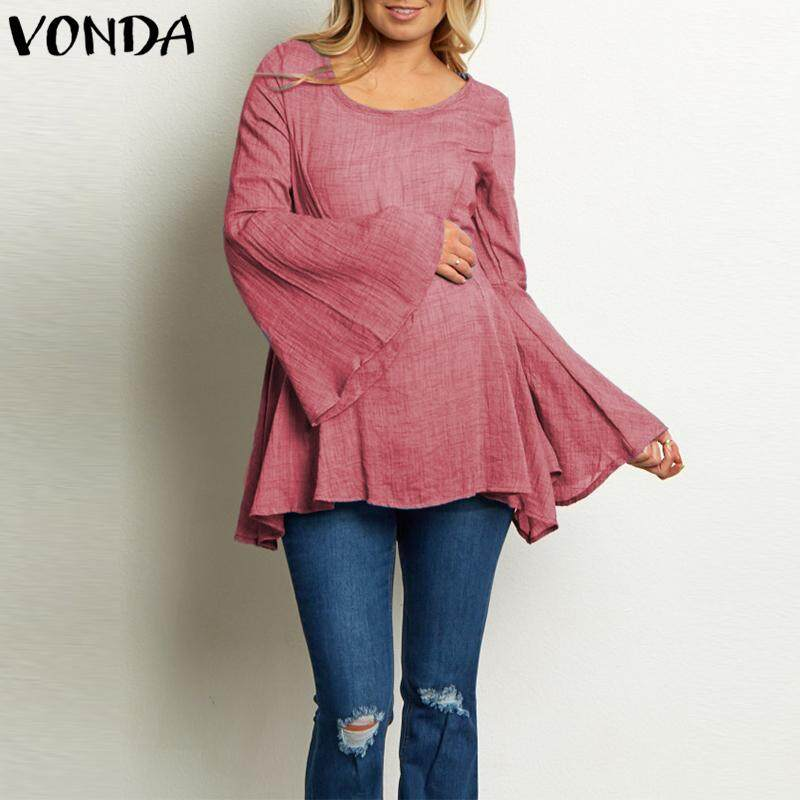 0b53eee28e3ac VONDA Maternity Women Long Batwing Sleevess Round Neck Top Shirt