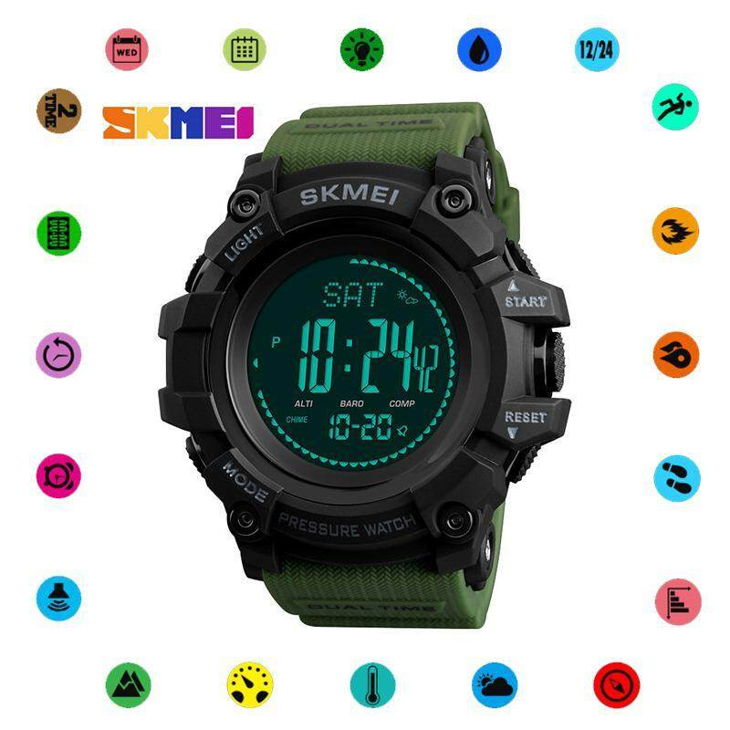 SKMEI 1358 New Men Sport Watch Outdoor Stopwatch Compass Barometer Weather Forecast Luminous Electronic Watch Malaysia