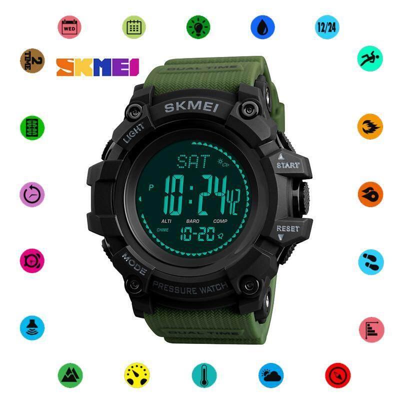 SKMEI 1358 New Men Sport Watch Outdoor Stopwatch Compass Barometer Weather Forecast Luminous Electronic Watch Malaysia