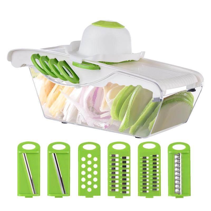 Migecon Nâng Cấp 6 Lưỡi Dao Mandoline Máy Thái Bằng Tay Rau Salad Máy Làm Khoai Tây Kéo Cắt Hành Phụ Kiện Nhà Bếp Tiện Ích