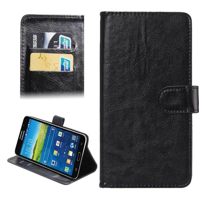 5.5-6.3 Inch Universal Crazy Horse Texture 360 Degree Rotating Carry Case with Holder & Card Slot for Samsung Galaxy Mega 6.3 / i9200(Black) - intl