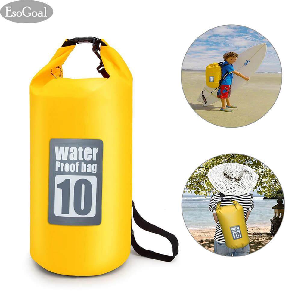 Hình ảnh EsoGoal Waterproof Roll Top Dry Bag Floating Dry Compression Sack Keeps Gear Dry for Kayaking, Canoeing, Beach, Rafting, Boating, Snowboarding, Hiking, Camping and Fishing 10 L - intl