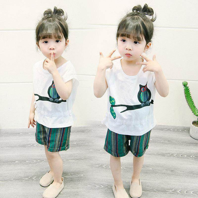 Baru Gadis Pakaian Set Hot Jual Owl Printing 2 Pcs Kaus Hangat Kemeja Putih dan Celana Bergaris Linen Pakaian Anak-anak Set