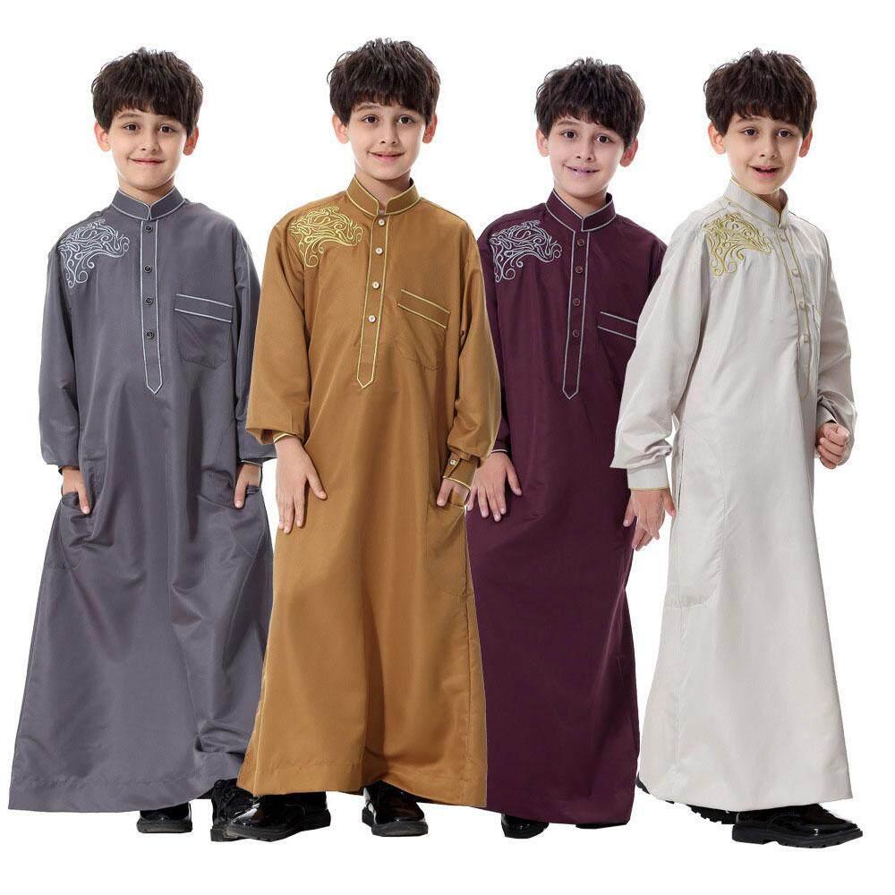 Cotton Lengan Panjang Tiruan Leher Bordir Timur Tengah Muslim Arab Anak-anak Gamis-Intl