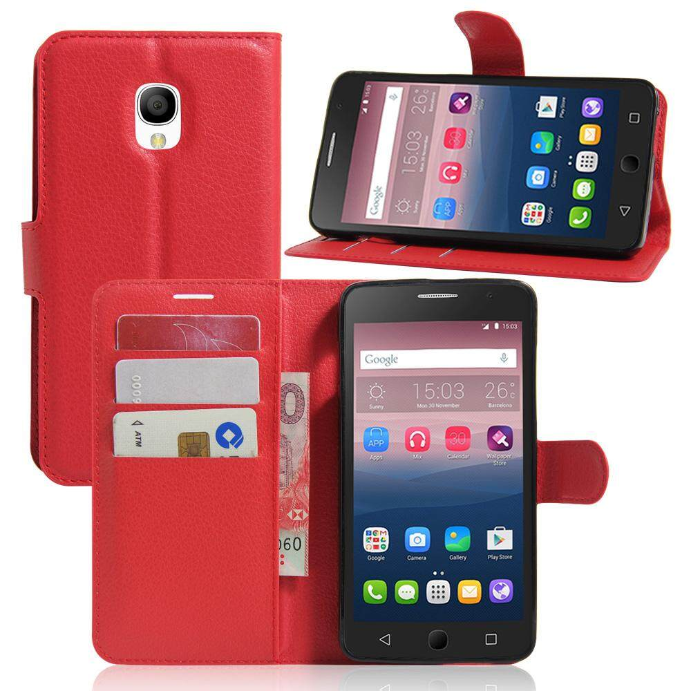 PU Leather Flip Cover Wallet Card Holder Case For Alcatel POP Star / OT5022D - intl