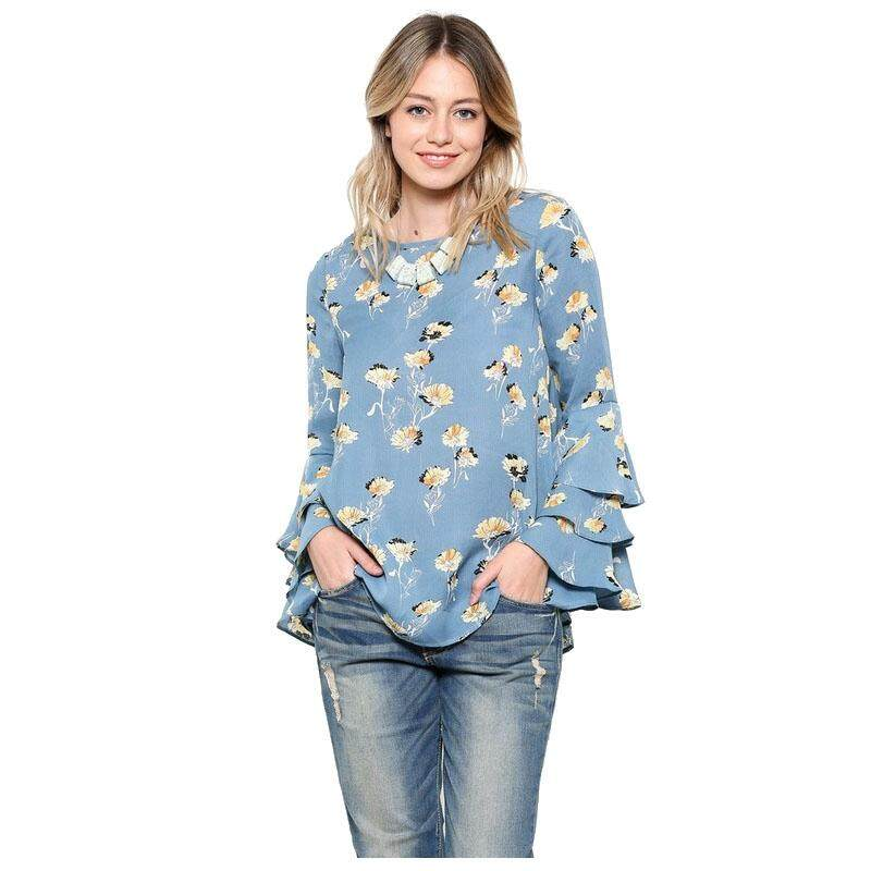 Women's New Casual Flare Long Sleeve Vintage Floral Shirt Ruffle Blouse Fashion Loose O Neck Tops and Shirts(Blue, L/US-8/UK-12)