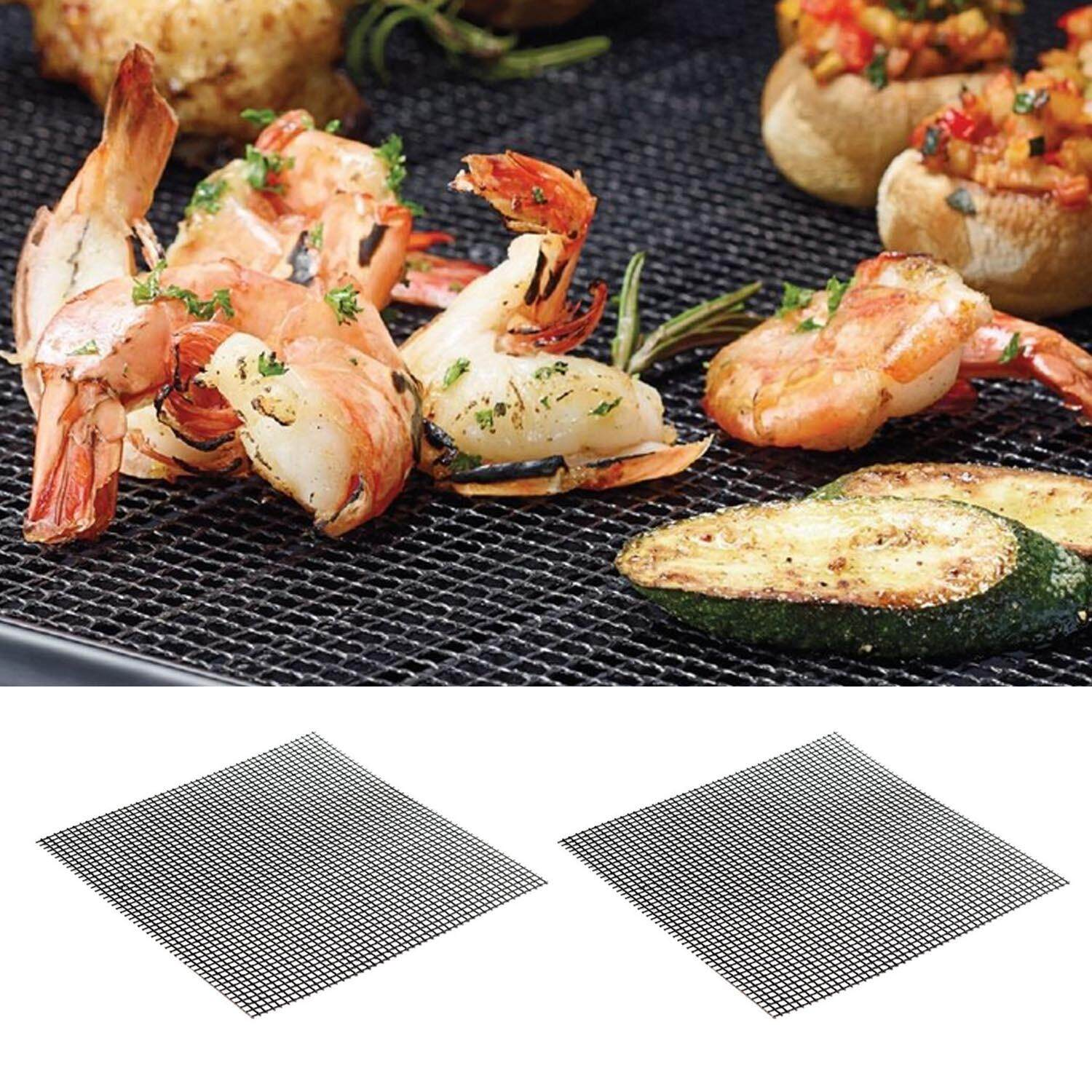2 PCS 33 x 40cm Teflon Non Stick BBQ Grill Mesh Grilling Net Grid Mat for Oven Microwave Charcoal Barbecue
