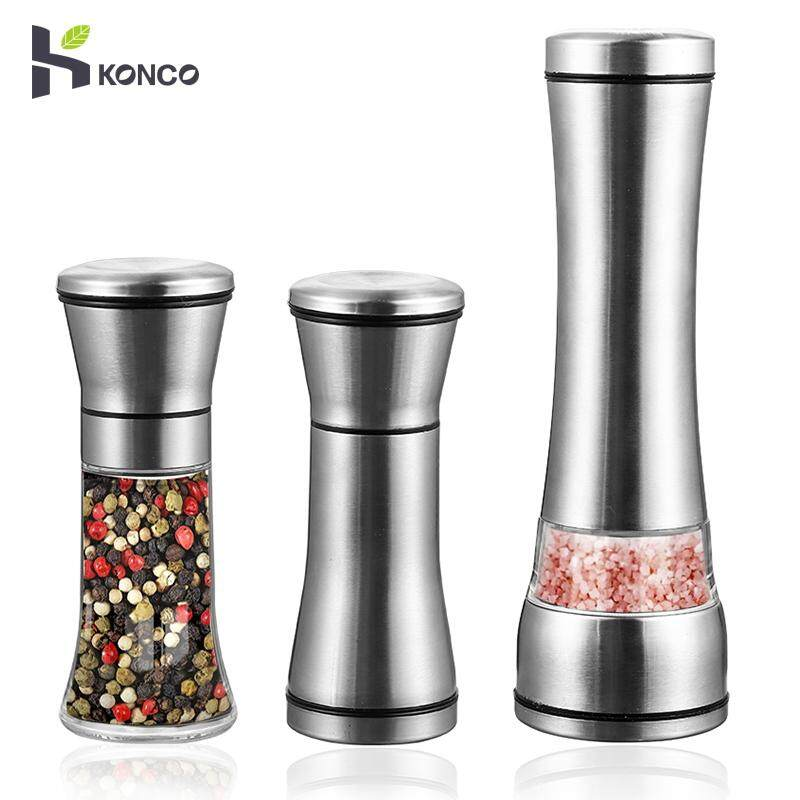 Konco 1 Piece Salt And Pepper Shakers & Mills, Stainless Steel Sea Salt & Coffee Beans Grinders With Adjustable Ceramic Pepper Grinder By Konco.