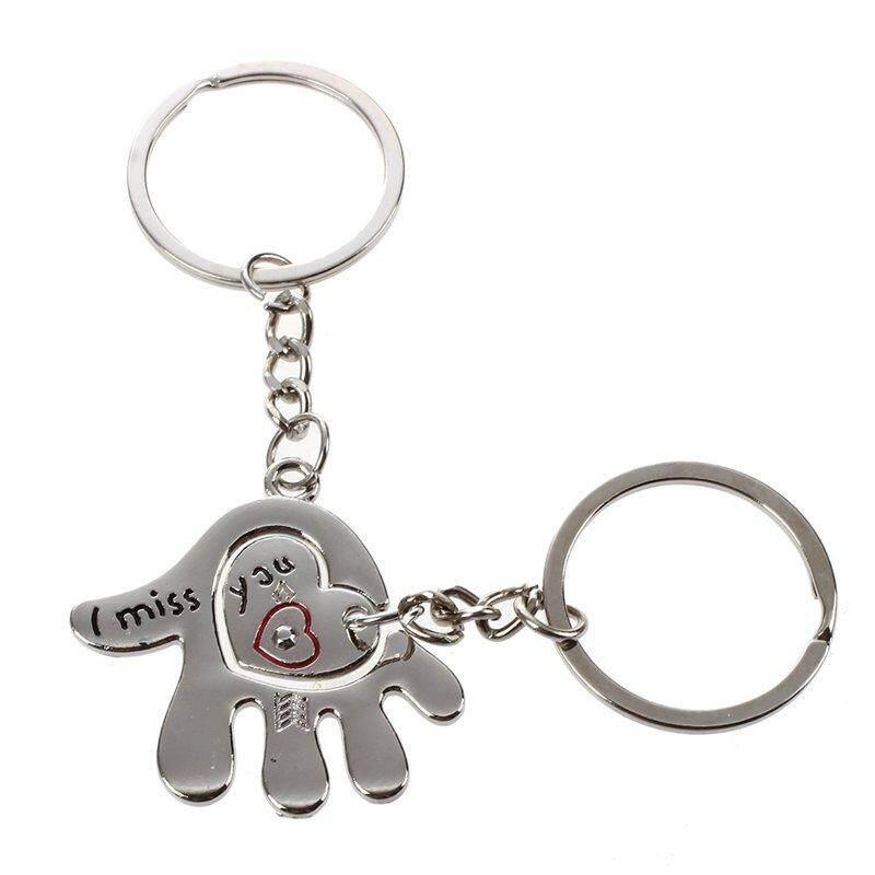 Tangan dan Hati Gantungan Kunci Cantik Berpasangan Cinta Gantungan Kunci Gantungan Kunci (Perak, 1 Pair)-Intl