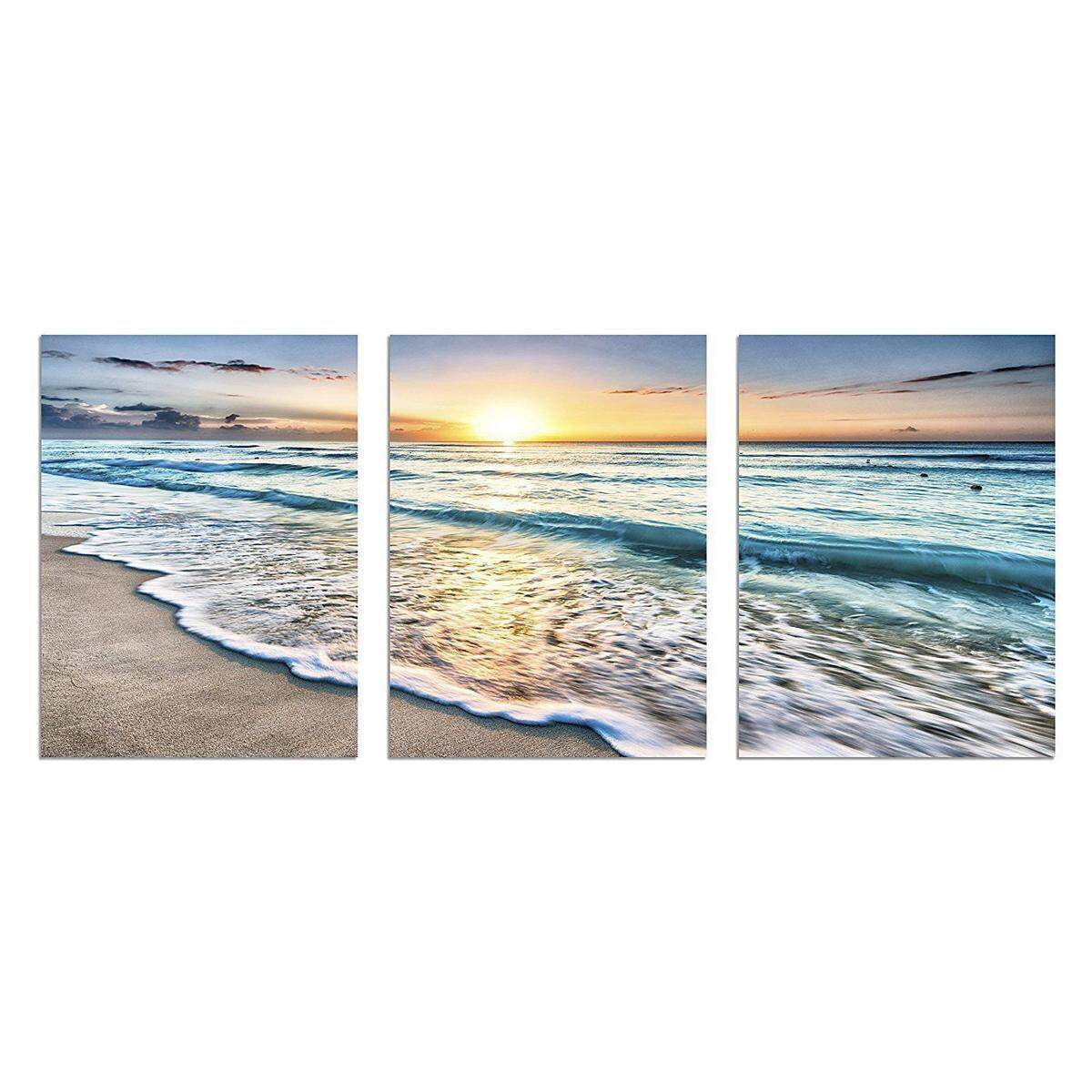 3pcs FRAMED Beach Canvas Wall Art Sunset Sand Ocean 3 Panel Home Picture Decor Gift [with frame]