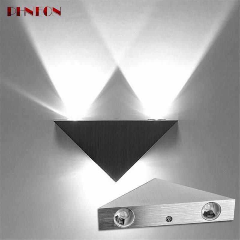 PHNEON Modern Led Wall Lamp 3w Aluminum Body Triangle Wall Light For Bedroom Home Lighting Luminaire Bathroom Light Fixture Wall Sconce - intl