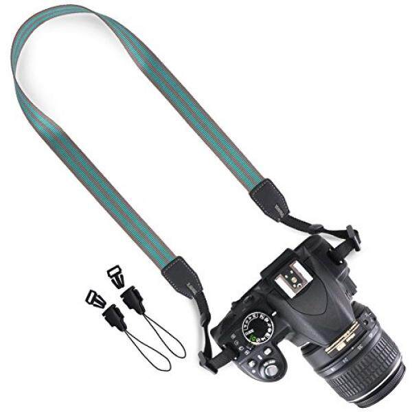 DSLR / SLR Camera Strap - Wolven Camera Neck Shoulder Belt Strap for Nikon Canon Samsung Pentax Sony Olympus Fujifilm Instax Polaroid Pringo - Green Stripe