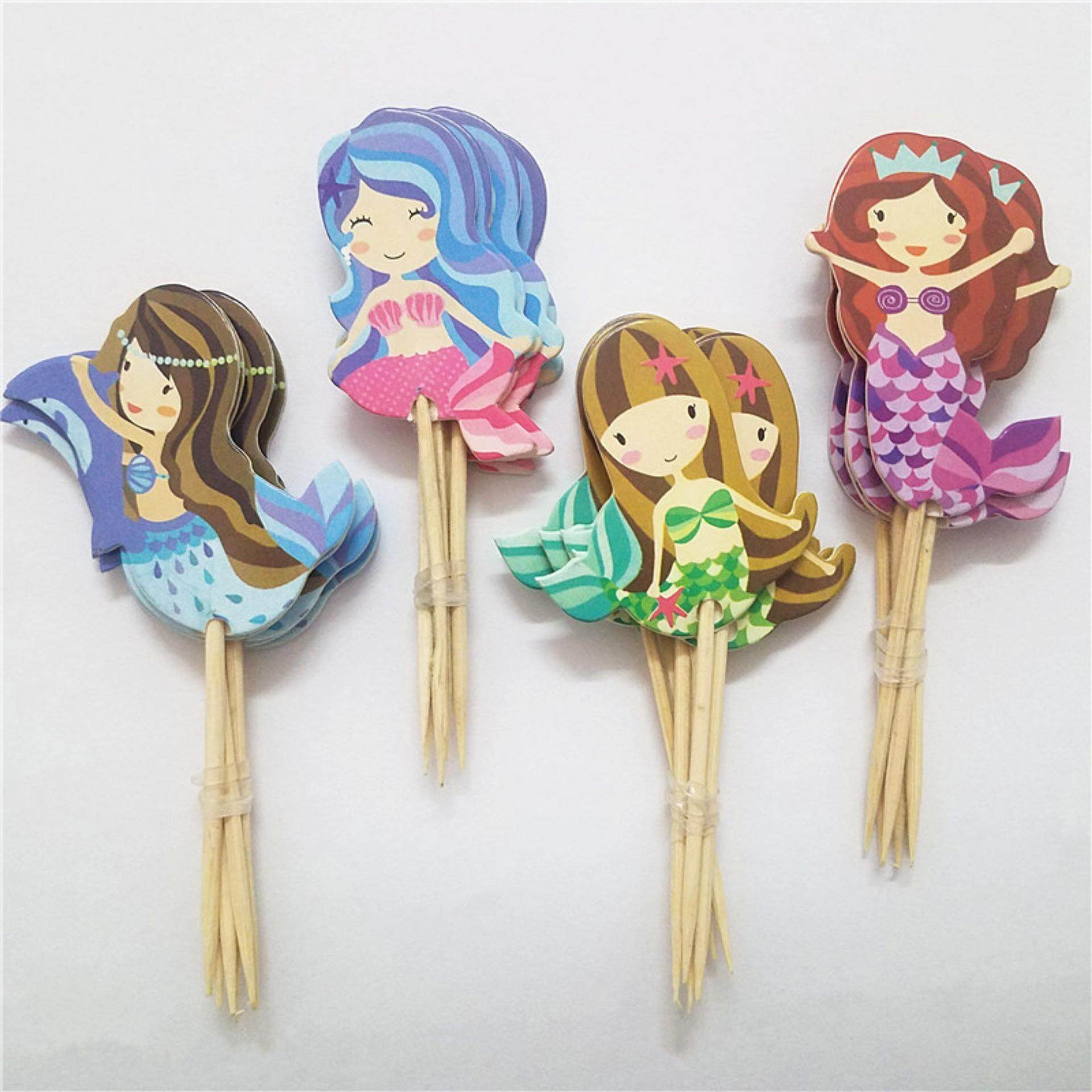 24pcs Cartoon Mermaid Cupcake Topper Picks Kid Birthday Party Decoration By Colorful Heart.
