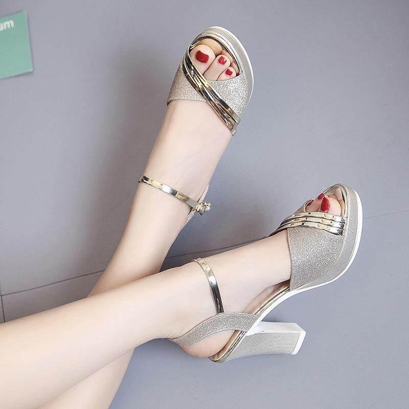 a86efd0cf557 Korean style women summer high heels sandals gladiator woman fashion bling  peep toe block heels ladies