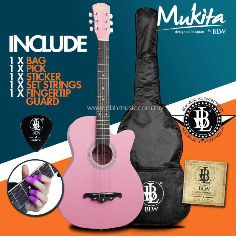 Mukita by BLW Standard Acoustic Folk Cutaway Basic Guitar Package 38 Inch for beginners with Bag, String Set, Fingertip Guard, Pick and Merchandise Sticker (Pink) Malaysia