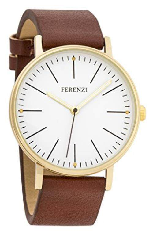 Women's Watches by Ferenzi - Minimalist Gold And Brown PU Leather Watch - Make Every Second