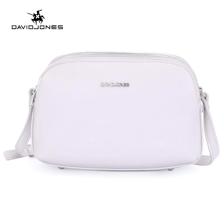 644896a512 DAVIDJONES women handbag pu leather female crossbody bag small spring 3  pocket lady shoulder bag girl