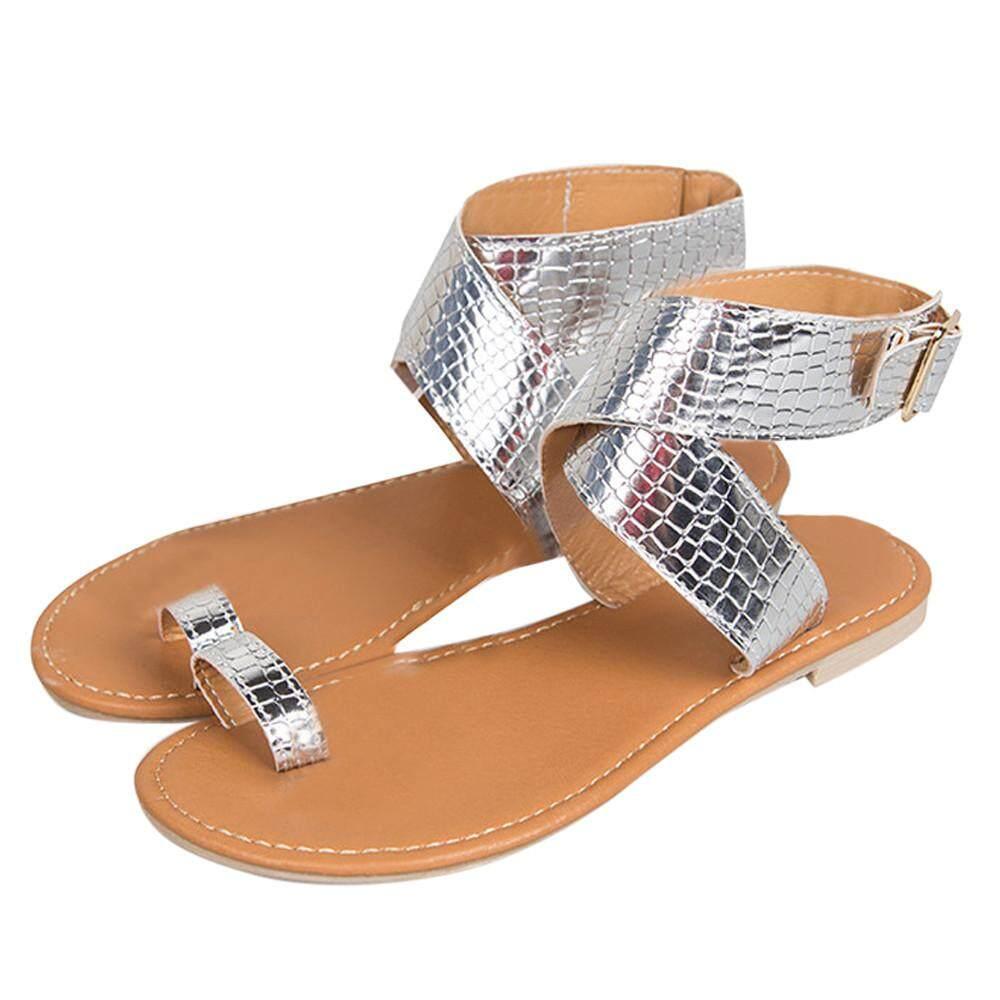 (Audestore) Women Cross Belt Rome Strappy Gladiator Low Flat Flip Flops  Beach Sandals Shoes 3843d7a874a