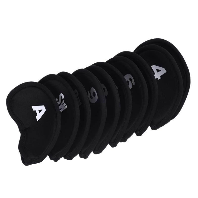 10 ชิ้นถุงใส่หัวไม้กอล์ฟเหล็กพัตเตอร์เครื่องป้องกันศีรษะชุด Neoprene สีดำ - Intl By Fastour