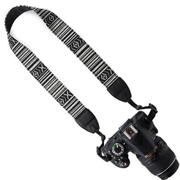 Wolven Kanvas DSLR/SLR Digital Kamera Tali Selempang Bahu dan Leher Sabuk untuk Nikon/Canon/Sony/Samsung/Pentax/ olympus/Leica Kamera Dll, garis Hitam Putih-Intl