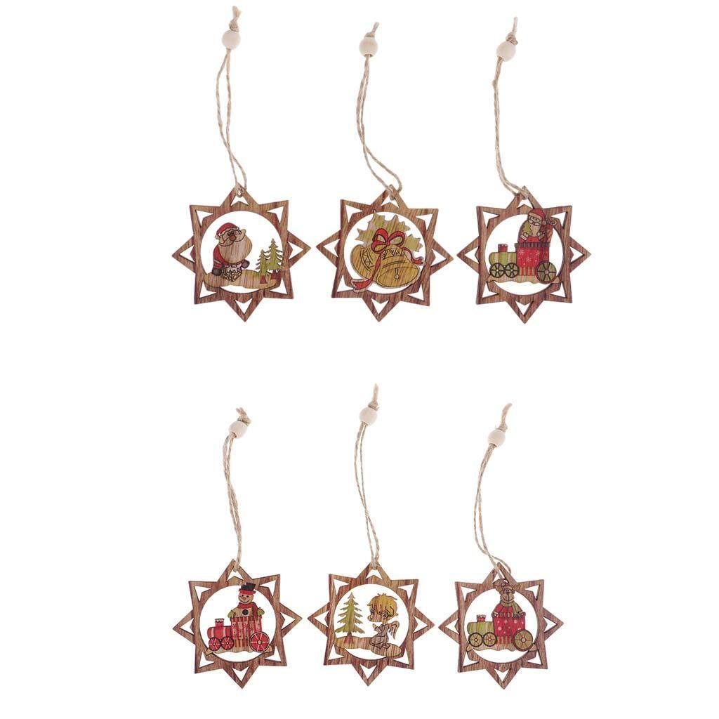 MYR 12 BolehDeals 6Pcs DIY Christmas Wooden Pendants Ornaments Anise Star Shapes .