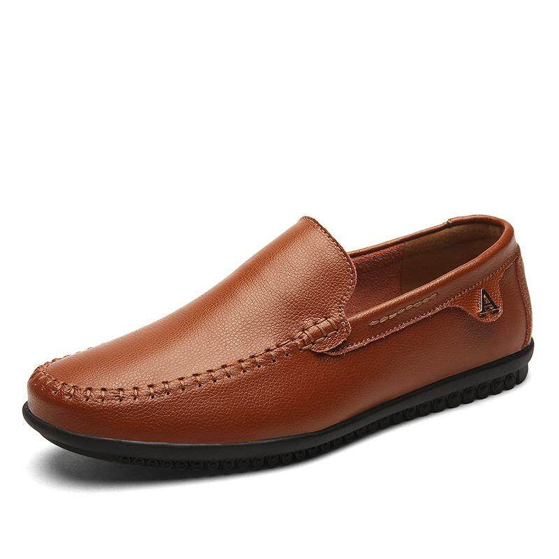 Slip-on Matted Shoes for Men - Pure Leather - Color Beige Footwear Size 37 OGWcgA5Mye
