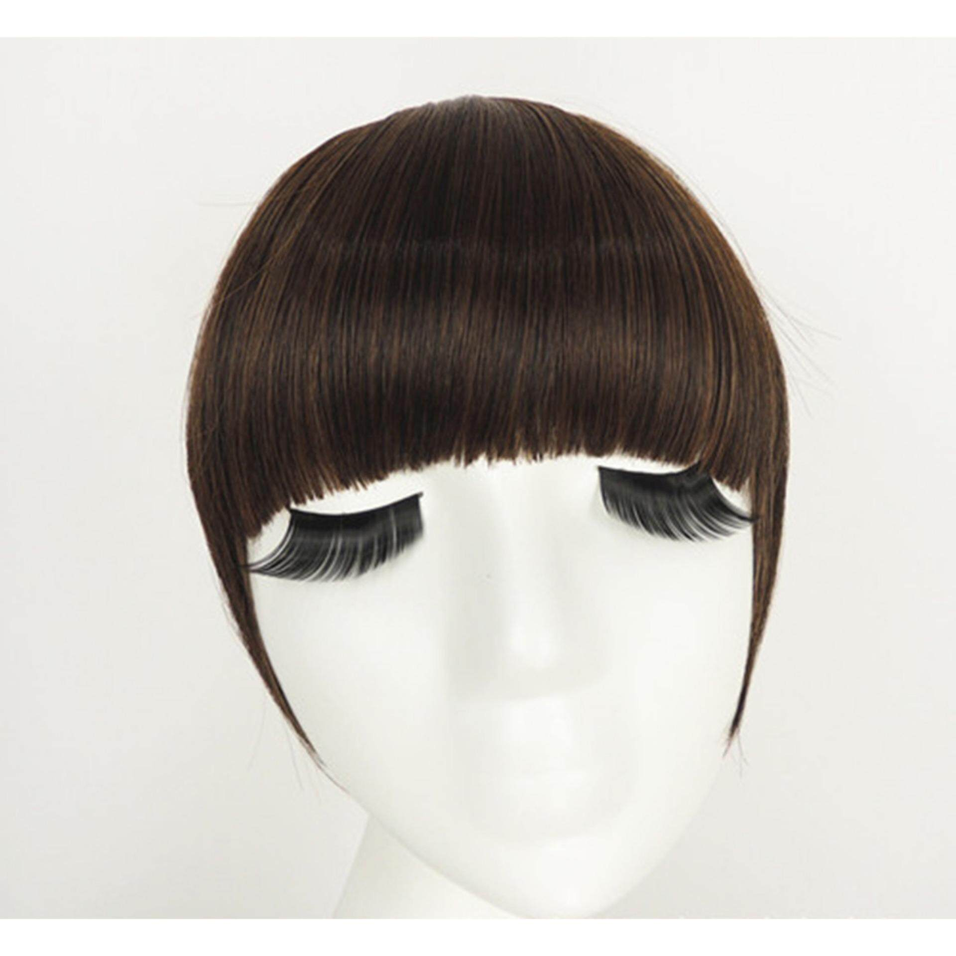 Fringe Clip In On Bangs Straight Hair Extensions Brown Black Like Human Hair Nature Balck - intl