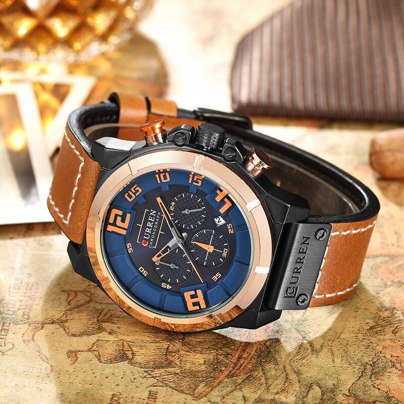 CURREN 8287 Mens Jam Tangan Atas Merek Mewah Chronograph Quartz jam tangan  Pria 26 Jam Tanggal ... 7e3e379637