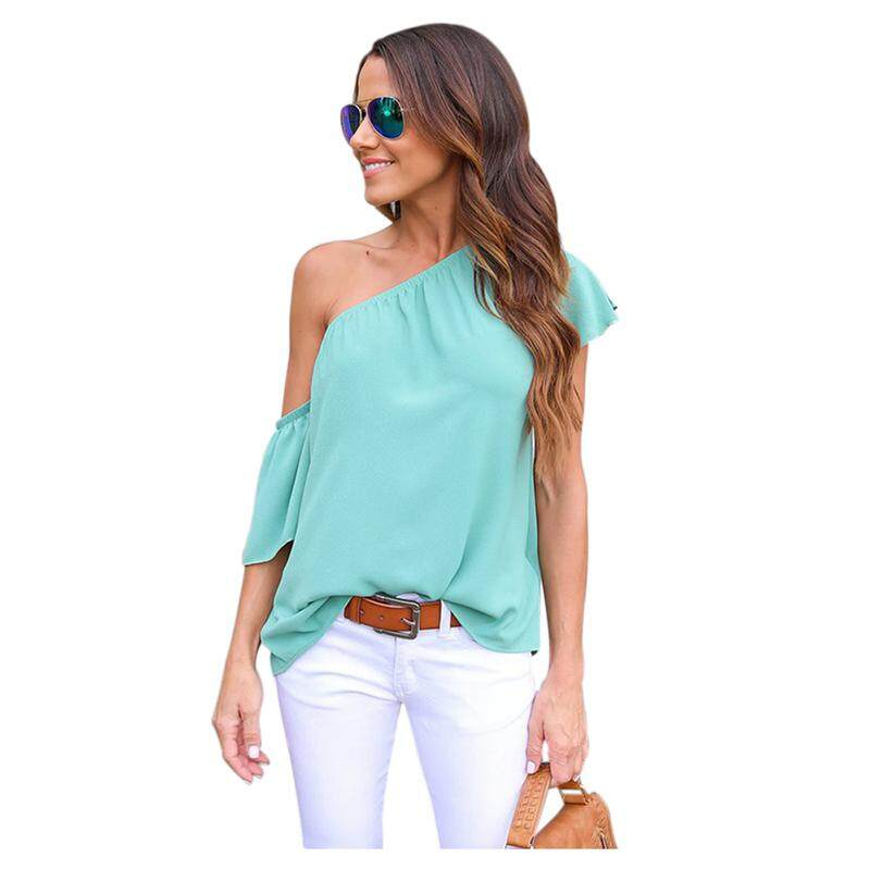 Women's New Fashion Shirts One Shoulder Tops Summer Blouses Sexy Beach Shirts Casual Solid Blouse F