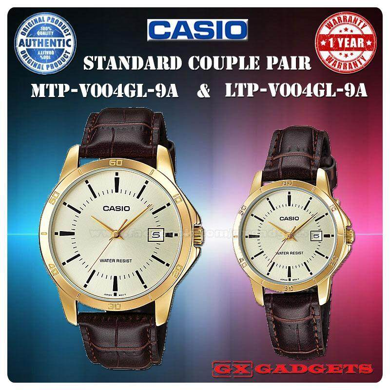 CASIO MTP-V004GL-9A + LTP-V004GL-9A STANDARD Analog Couple Pair Watch Date Leather Band Gold Case Water Resistant MTP-V004 LTP-V004 V004 Series Malaysia