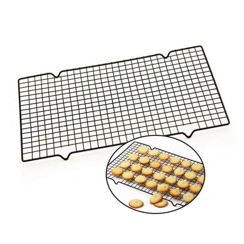 1 ชิ้นเหล็กคาร์บอน Non - Stick ตะแกรงพักขนม Cooling Grid ถาดอบขนมสำหรับบิสกิตพายคุกกี้ขนมปังเค้กตะแกรงอบ.