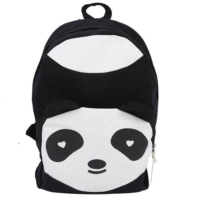 Panda Lucu Kanvas Tas Punggung Ransel Wanita Mahasiswa Anak Tas Buku Sekolah -Hitam-Internasional