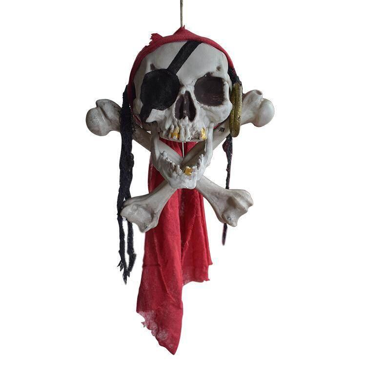 Halloween Buccaneer Secrets Escape Haunted House Decorated Terror Skull Bone One-Eyed Pirates Hanging Skull Head By Freebang.