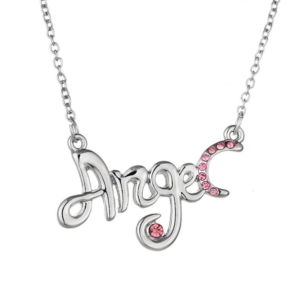 Phoenix B2C Wanita Malaikat Surat Berlian Imitasi Kalung Liontin Tulang Selangka Hadiah Perhiasan Rantai (Merah Muda)