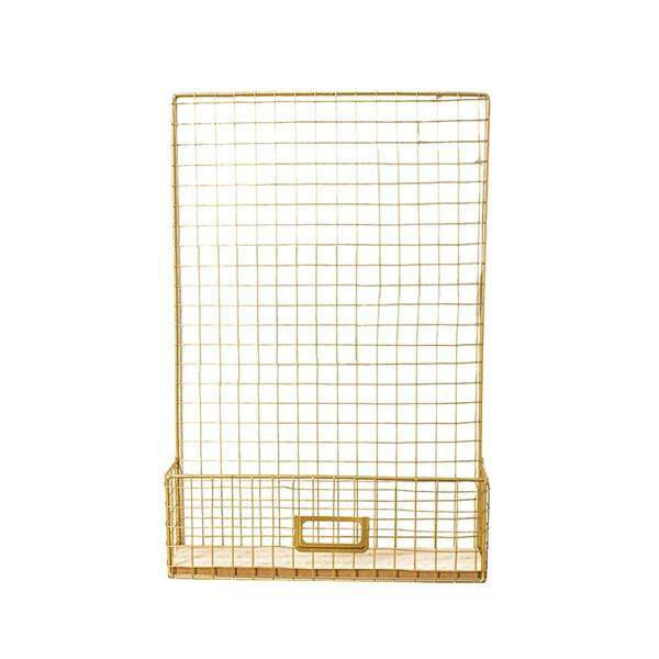 Nordic Style Pictures Wall Hanging Iron Rack Grilles Hanging Mesh Decoration Living Room Decor with Postcard Clip(Golden)