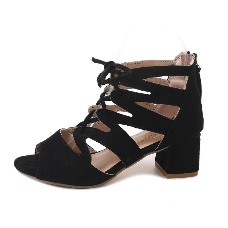 7e1e02c720738 TLL Women Gladiator Style Heeled Sandals Peep-toe Mid Block Heel Lace-up  Fine
