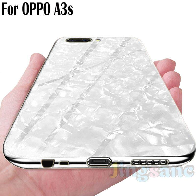 For OPPO A3s Fashion Glass Case Scratchproof Soft TPU Edge Phone Case Casing Cover