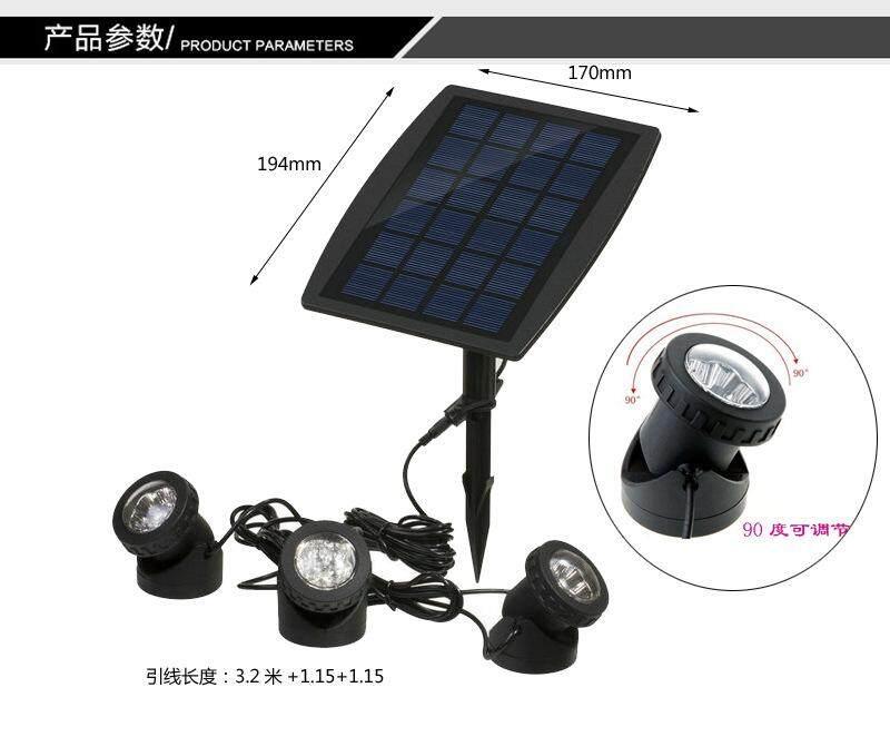 Outdoor LED solar floodlight 3 heads solar energy underwater projection lamp split type indoor lighting lamp garden lamp