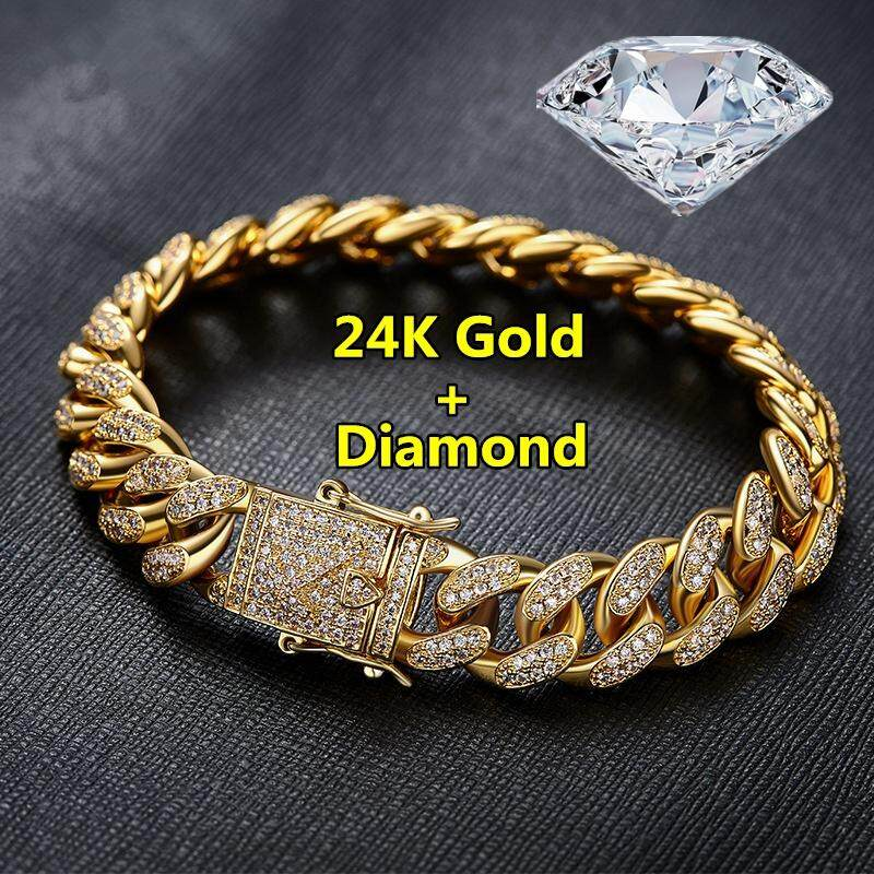 2018 Fashion Mens Womens Chain Hiphop Iced Out Curb Cuban Diamond 18K Gold / 24K Gold