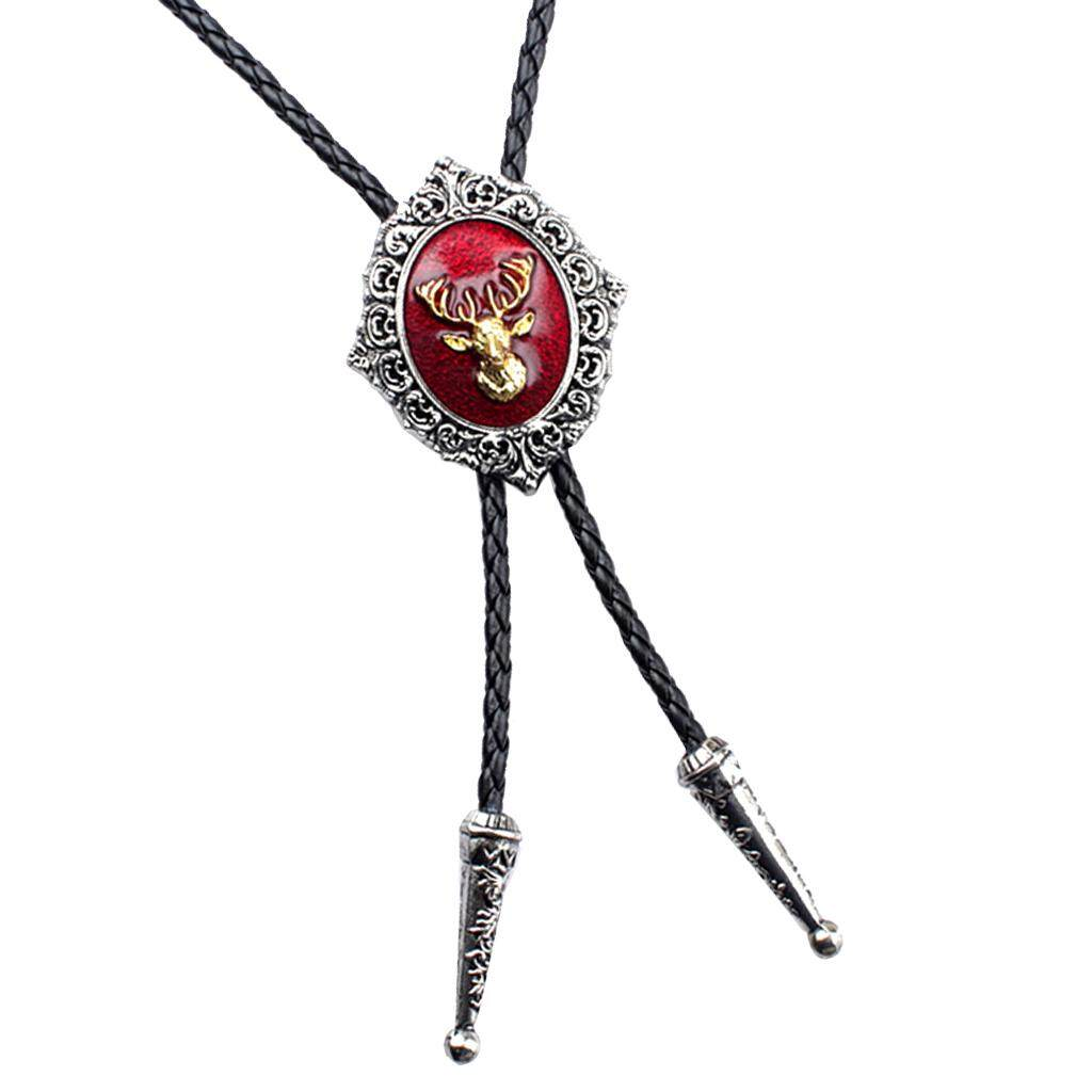 BolehDeals Classic Western Cowboy Elk Deer Head Bolo Tie Rodeo Dance Necktie Necklace - intl