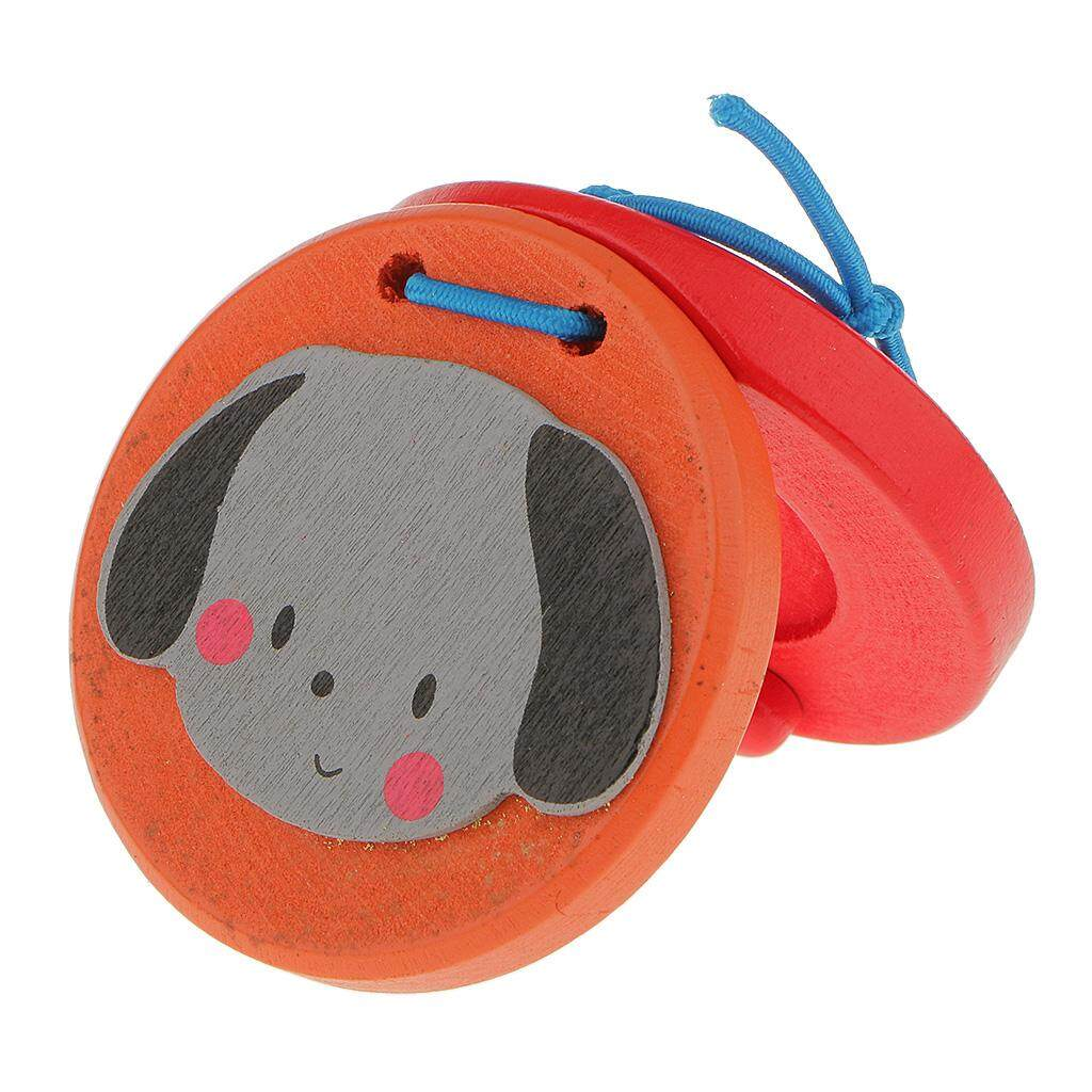 MagiDeal Wooden Castanet Kids Percussion Toy for Baby Early Education-Dog
