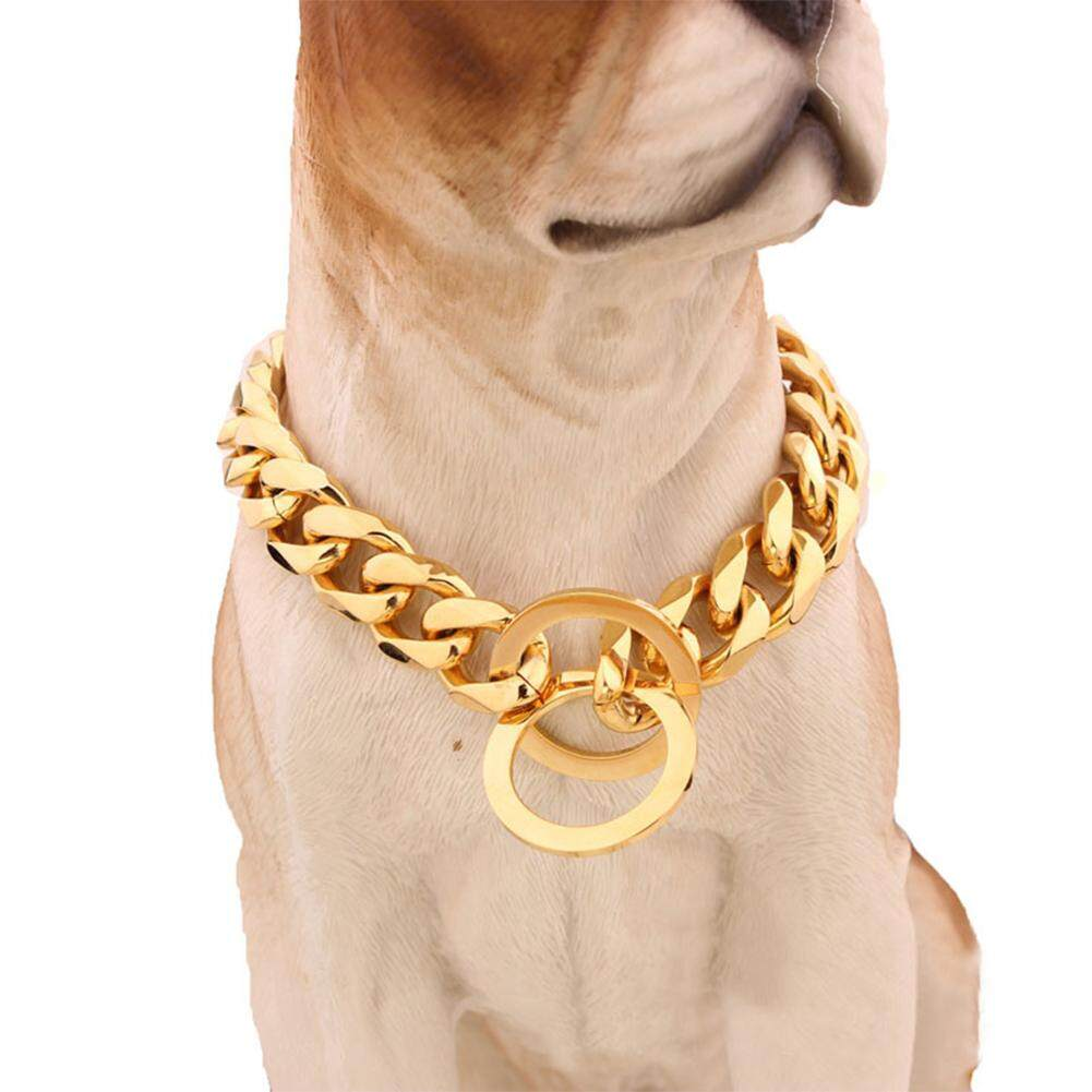 LB Golden Stainless Steel Pet Dog Collar Dog Necklace Pet Supplies 26inch