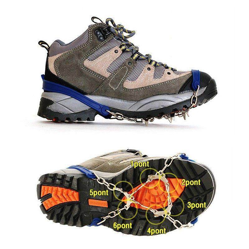 1Pair Crampons 6 Teeth Anti-Slip Winter Snow Climbing Spiker Cleats Shoes Cover